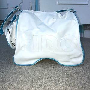 Brand new white FIDO duffel bag